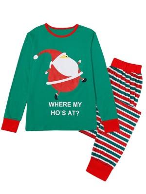 Cute Santa Claus Print Family Pajamas Set Striped Christmas Matching Pajamas
