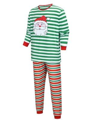 Red And Green Striped Christmas Matching Pajamas Set Santa Claus Print Christmas PJs