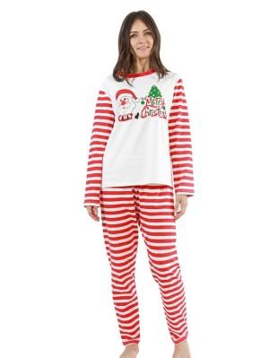 Red Striped Christmas Matching Pajamas Set Santa Tree Print Christmas PJs