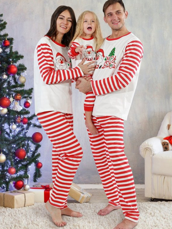 Red Striped Christmas Matching Pajamas Set Santa Tree Print Christmas PJs