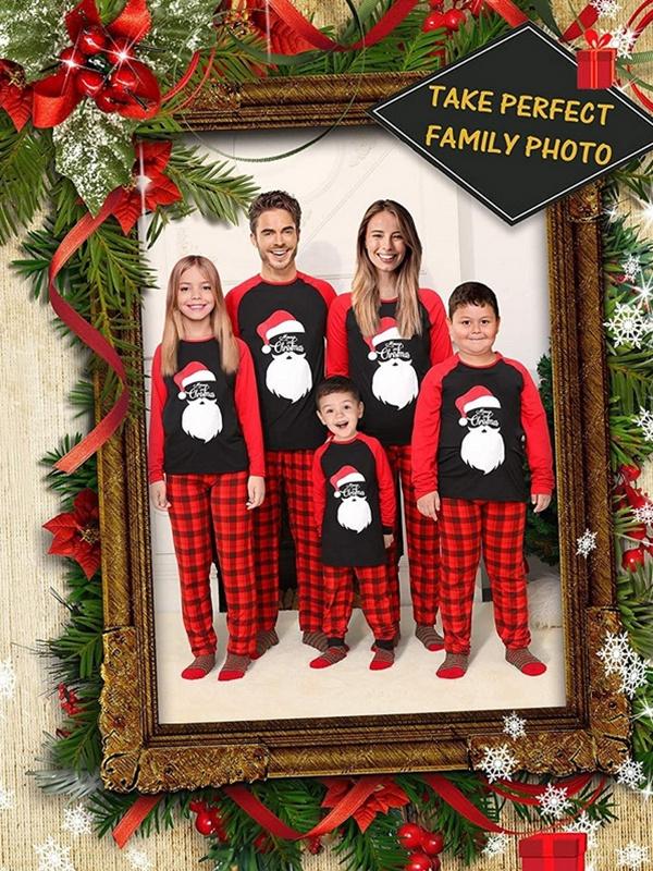 Christmas Matching Pajamas For Family Plaid Santa Print Pajamas Set