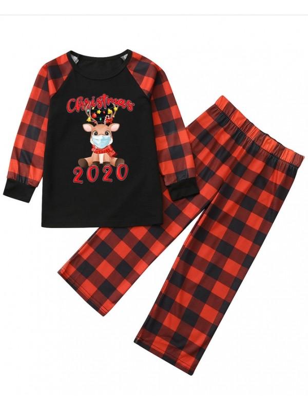 Christmas Matching Pajamas Family 2020 Plaid Deer With Mask Print Pajamas Set