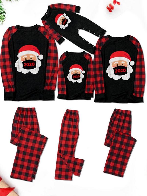 Christmas Matching Pajamas Family 2020 Plaid Santa Claus With Mask Print Pajamas Set