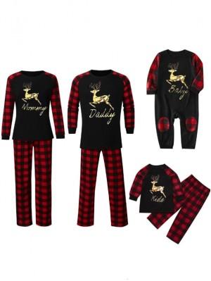 Christmas Matching Family Pajamas Plaid Christmas Elk Print Pajamas Set