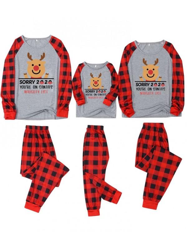 Christmas Matching Family Pajamas Plaid Sorry 2020 Print Pajamas Set