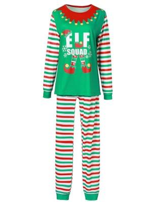 Christmas Matching Pajamas For Family Christmas Elf Squad Print Pajamas Set