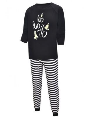 Black And White Christmas Ho Ho Ho Print Matching Pajamas Set For Family