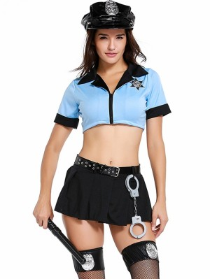 Women's Sexy Policewoman Costume Sexy Cop Skirt Top Set