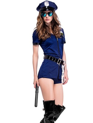 Women's Sexy Police Costume Halloween Sexy Policewoman Jumpsuit