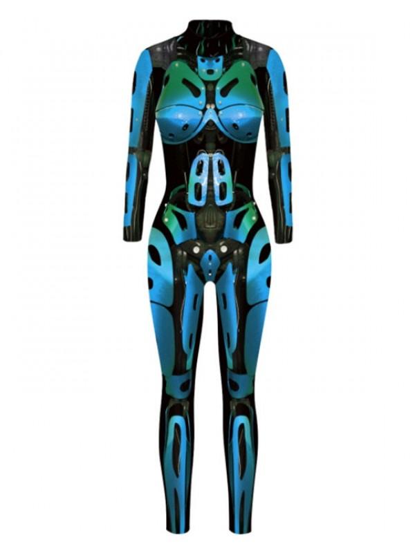 Women's Long Sleeve Body Fit Robot Print Halloween Jumpsuit
