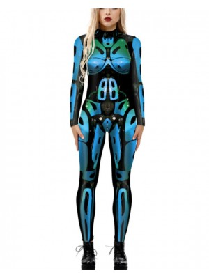 Women's Long Sleeve Body Fit Robot Print Halloween Jumpsuit