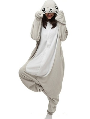Adult Grey Seal Onesie Pajamas Animal Onesie For Couple