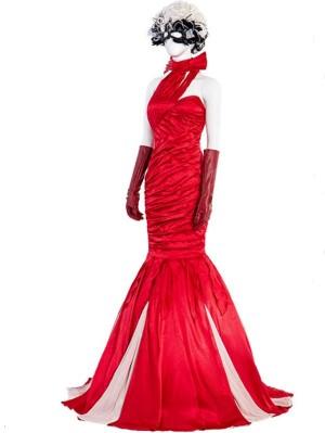 Red Cruella De Vil Evening Dress Halloween Cosplay Costume