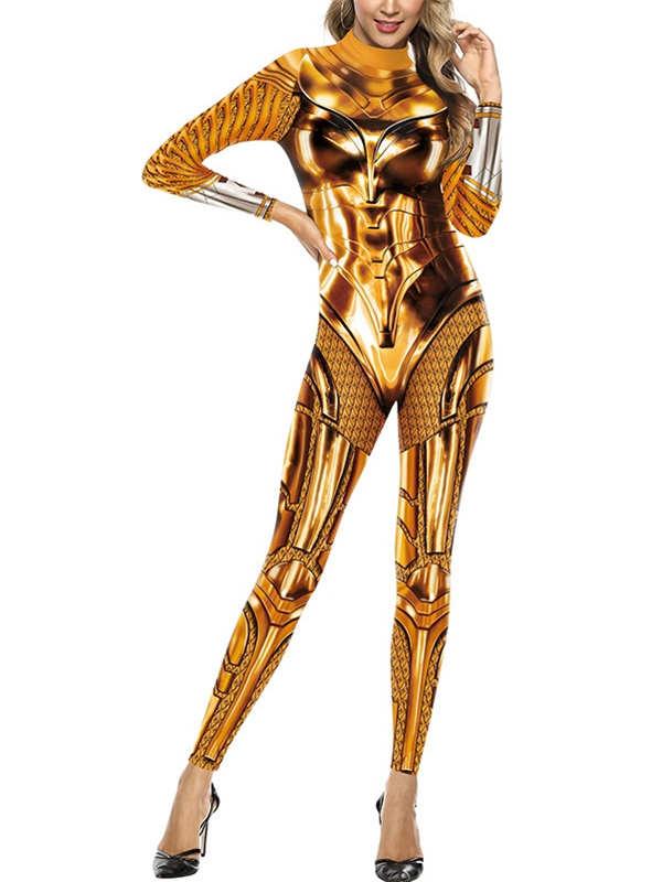 Women's Slim Print Wonder Woman Jumpsuit