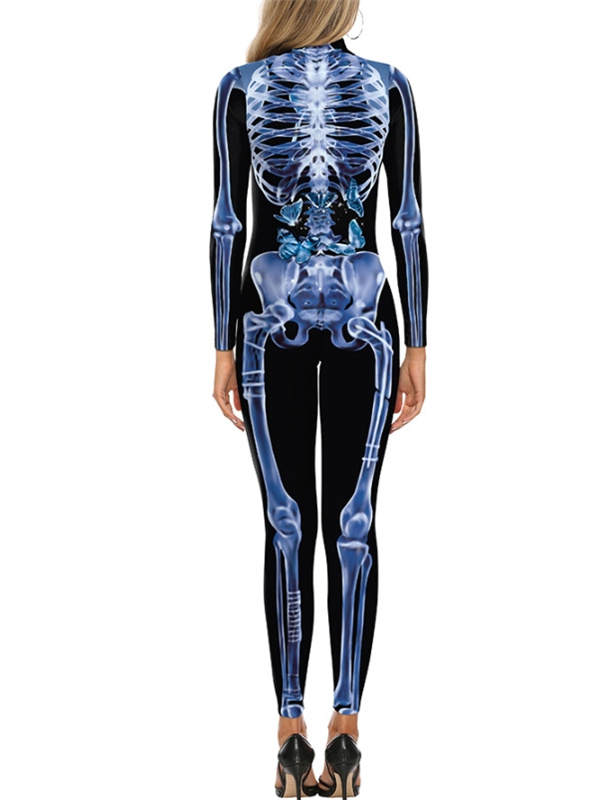 Women's 3D Human Skeleton Print Jumpsuit