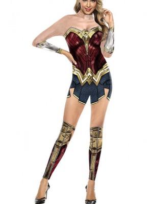 Women's Justice League Wonder Woman Print Jumpsuit