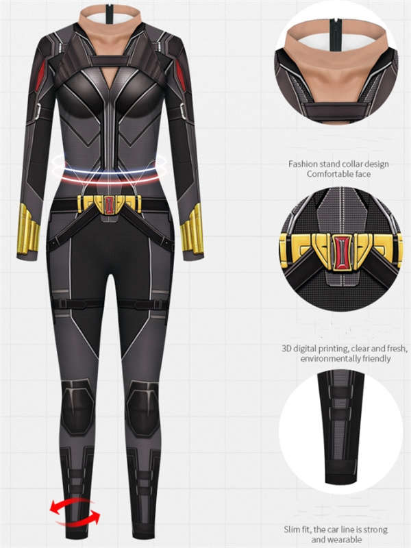 Women's 3D Print Black Widow Jumpsuit