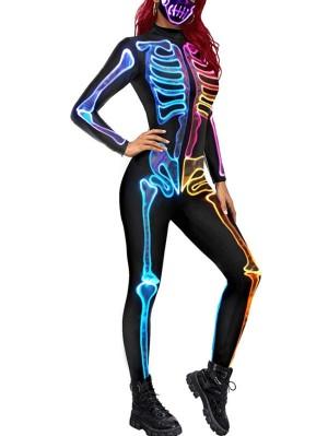 Women's Halloween Fluorescence Skeleton Jumpsuit