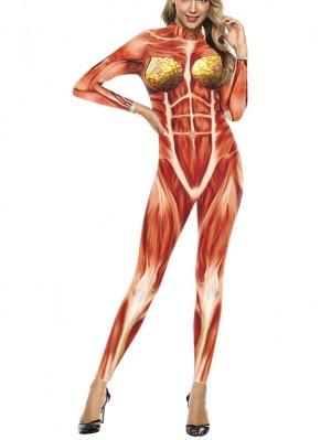 Women's Halloween 3D Muscle Print Jumpsuit