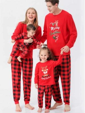 Cartoon Deer Christmas Matching Pajamas Merry Christmas Print Pajamas Set