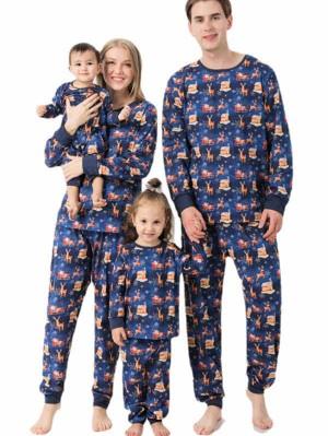Christmas Matching Pajamas For Family Snowflake Santa Claus Print Pajamas Set