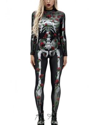 Women's Skeleton Print Costume Halloween Jumpsuit