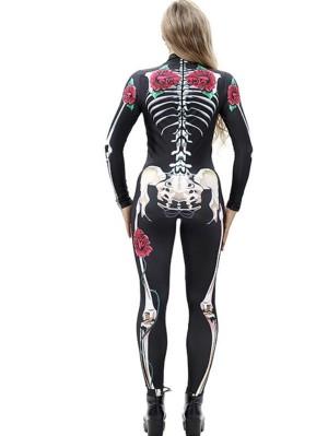 Women's Skeleton Print Jumpsuit Halloween Costume