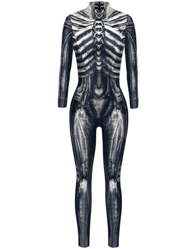 Women's 3D Skeleton Print Jumpsuit Halloween Costume