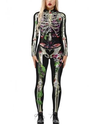 Women's 3D Skeleton Print Costume Halloween Jumpsuit