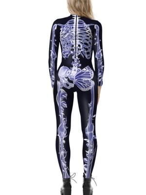 Women's Halloween 3D Skeleton Print Jumpsuit Costume
