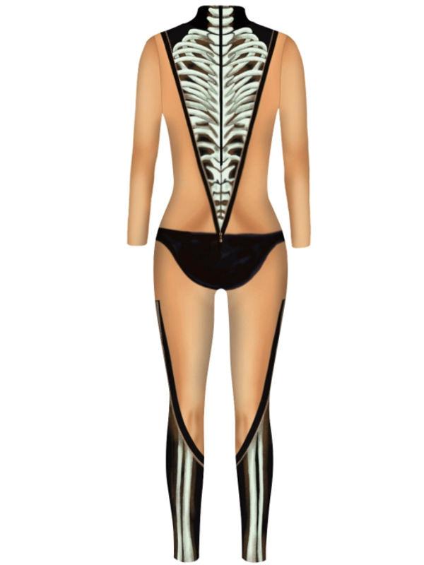 Halloween Women's 3D Skeleton Print Jumpsuit Costume