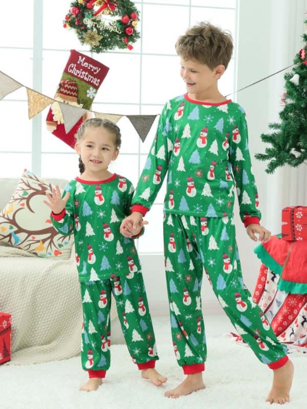 Christmas Family Matching Pajamas Christmas Tree Snowman Pajamas Set