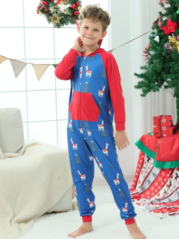 Christmas Family Matching Pajamas Alpaca One Piece Pajamas Set