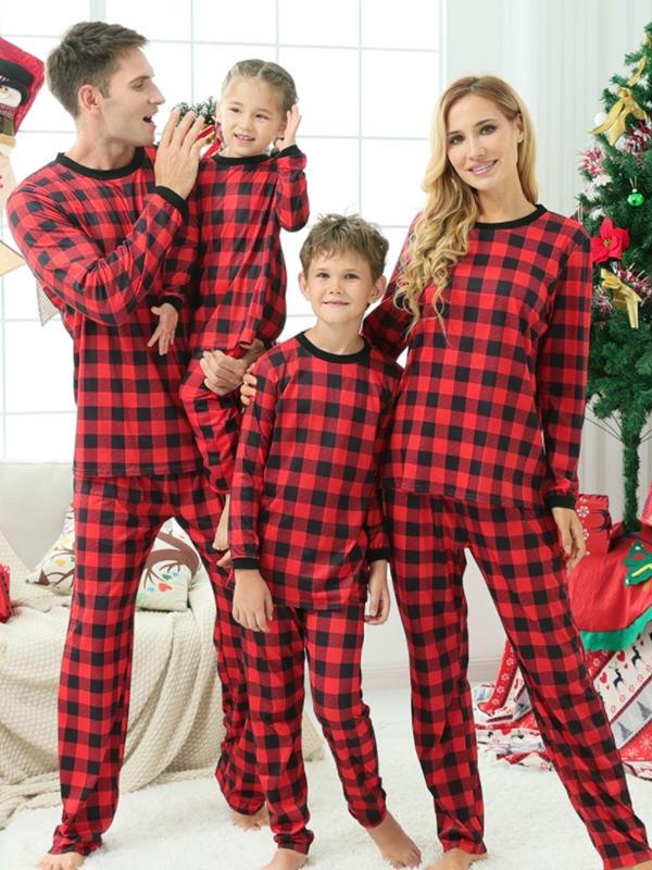 Christmas Family Matching Pajamas Black And Red Plaid Pajamas Set