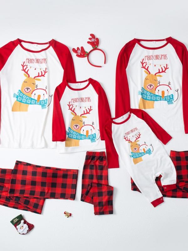 Christmas Family Matching Pajamas Cartoon Deer Snowman Pajamas Set