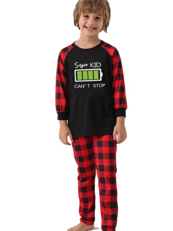 Christmas Family Matching Pajamas Battery Print Christmas Jammies Set