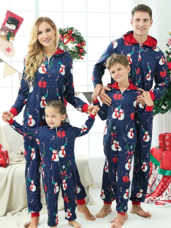 Family Christmas Matching Pajamas Jumpsuit Snowman Print Hooded Pajamas