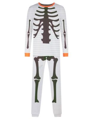 Family Halloween Matching Pajamas Human Skeleton Print Loungewear Set