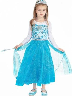 Girls Elsa Dress Frozen Cosplay Costume For Children