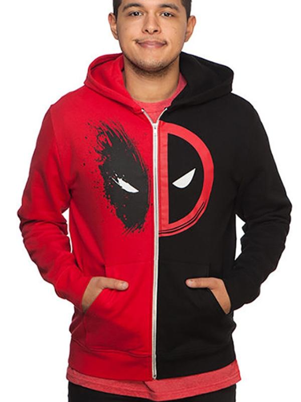 Adult Zipper Red And Black Deadpool Hoodie