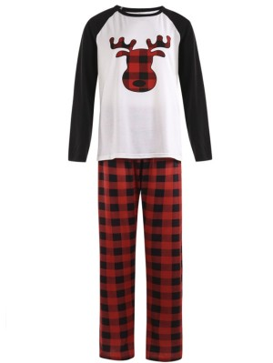 Christmas Matching Pajamas Set Plaid Elf Print Family Christmas Pajamas