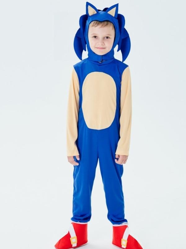 Children's Halloween Costume Kids Blue Sonic Cosplay Costume