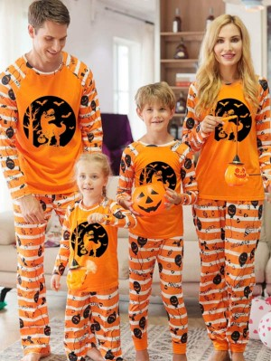 Matching Halloween Pajamas Set Dinosaurs Play Pumpkin Family Jammies