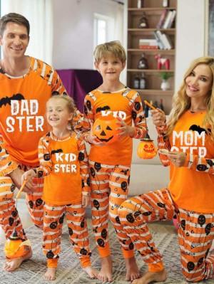Matching Halloween Pajamas Set Letters Print Family Jammies