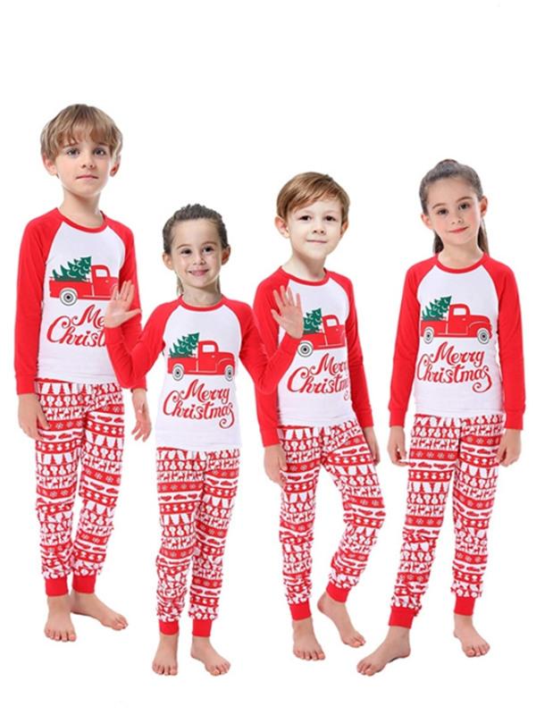 Christmas Family Pajamas Set Tree On Truck Print Christmas Jammies