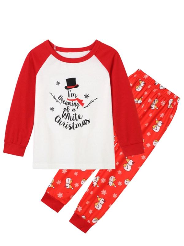 Letter I'm Dreaming of a White Christmas Print Christmas Family Pajamas