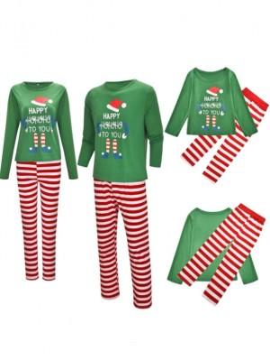 2021 Christmas Jammies Green Striped Christmas Family Pajamas