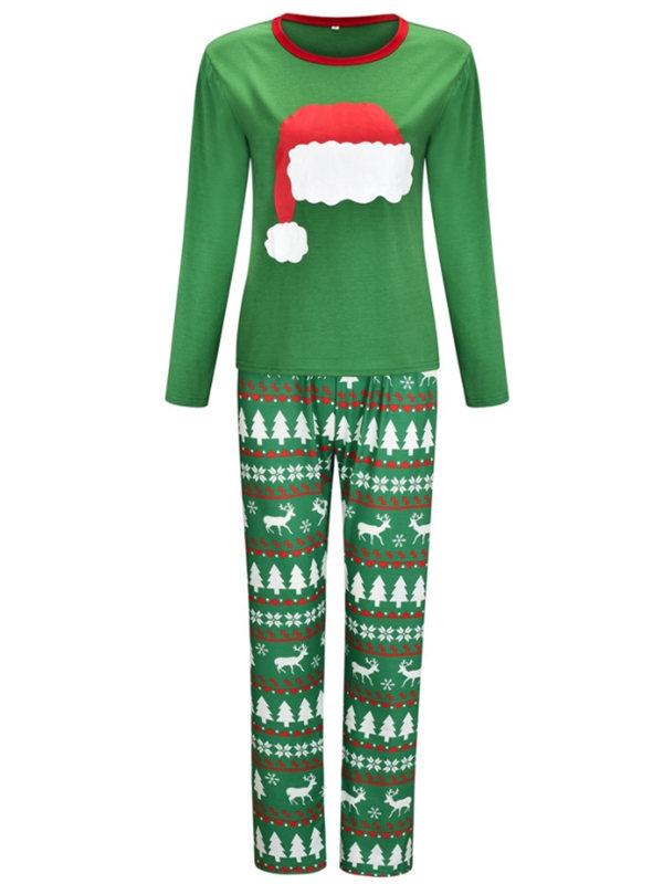 2021 Christmas Jammies Christmas Hat Print Christmas Family Pajamas