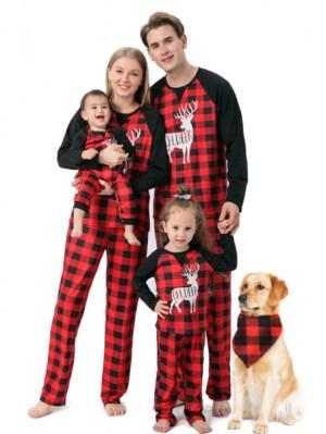 Christmas Pajamas Plaid Deer Print Christmas Family Matching Pajamas