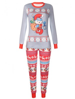Christmas Family Pajamas The Smurf Print Christmas Matching Pajamas